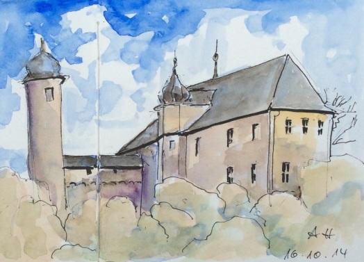 Burg Denstedt mit schiefem Turm