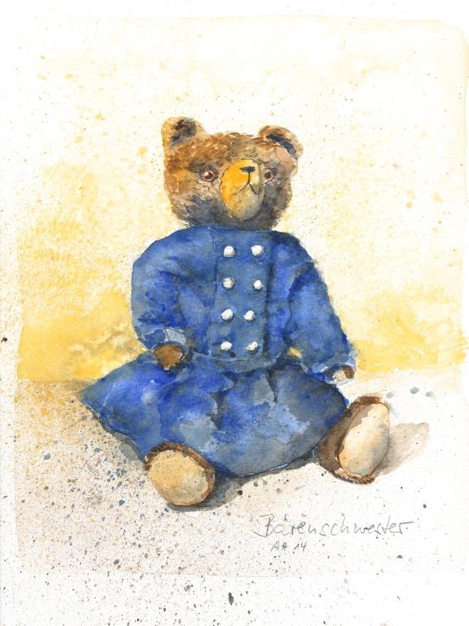Meine alte Bärenschwester. Der Teddy hat ein Wollkleid an, das ich ca. 1962 getragen habe.