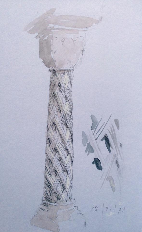 Säule mit steinernem Flechtmuster. Wasserfarbe und verschiedene Marker in Stillman&Birn Beta.