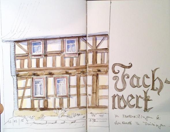 Fachwerkhaus in Niedervillingen bei Arnstadt. PITT pens und Wasserfarbe in Stillman&Birn Beta.