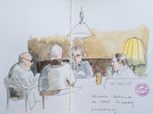 Vier alte Herren beim Skat im Schlossberg-Hotel in Schwarzburg. Wasserfarbe und PITT-Pens in Stillman&Birn Beta.