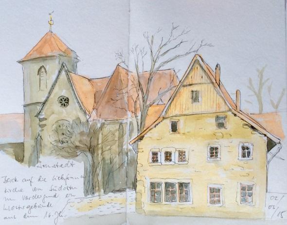 Liebfrauenkirche in Arnstadt, Thüringen. Im Vordergrund ein Klostergebäude aus dem 16.Jh., das gerade restauriert wird.