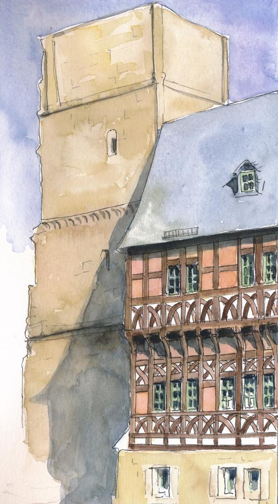 Ruine des Kirchturms von Kloster Paulinzella mit spätgotischem Amtsgebäude, Wasserfarbe und PITT-Marker in S&B Beta.
