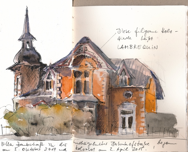 Villa im Bäderstil, Ludwigslust. Die Zeichnung entstand in einem selbstgemachte Skizzenbuch auf zwei Seiten mit unterschiedlichen Papierqualitäten und -formaten.