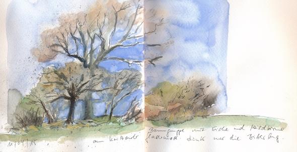 Baumgruppe, vermutlich auf einem Hügelgrab in  der Nähe von Kritzow bei Schwerin.