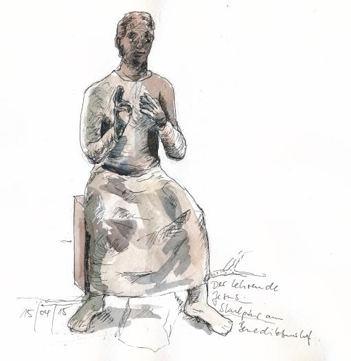 """""""Lehrender Christus"""", Skulptur von Gisela Drescher."""