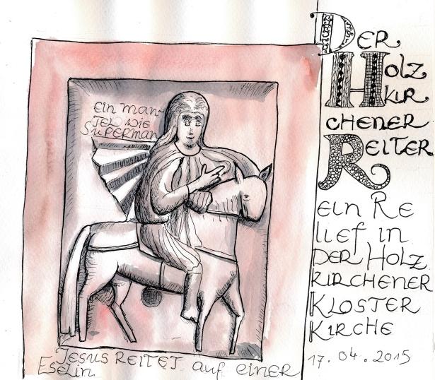 """Der """"Holzkirchner Reiter"""", ein ca. 40 cm breites romanisches Sandsteinrelief. PITT- Marker und Wasserfarbe."""