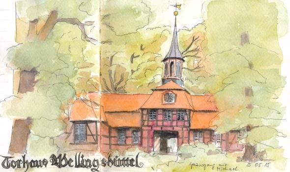 Torhaus des Gutes Wellingsbüttel im Alstertal. White Nights Aquarellfarben in Kunst&Papier Aquarellbuch.