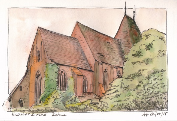 Klosterkirche Rehna von Nordosten. Super5-Tinte und Wasserfarbe in S&B Beta.