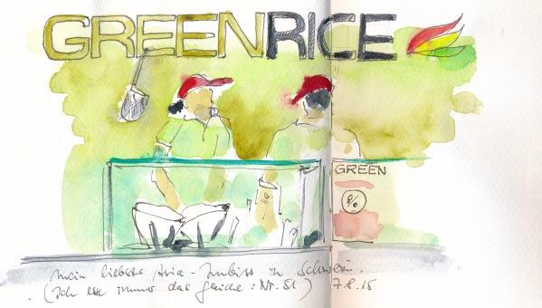 """Asia-Imbiss """"Green Rice"""" in Schwerin. Schnell skizziert mit einem PITT-Pen und zu Hause mit Wasserfarbe koloriert."""