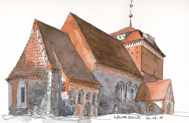 Die Kirche von Bellin am Morgen. Kolorierte Federzeichnung in S&B Beta.