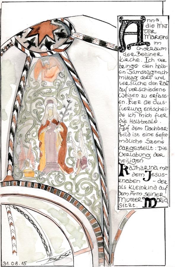 Chorraum der Belliner Kirche mit Darstellung der heiligen Anna. Marker und Wasserfarbe in S&B Beta.