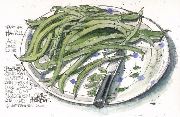 Grüne Bohnen auf einem Bloßlagen-Teller. Feder/Tusche mit Wasserfarbe koloriert.