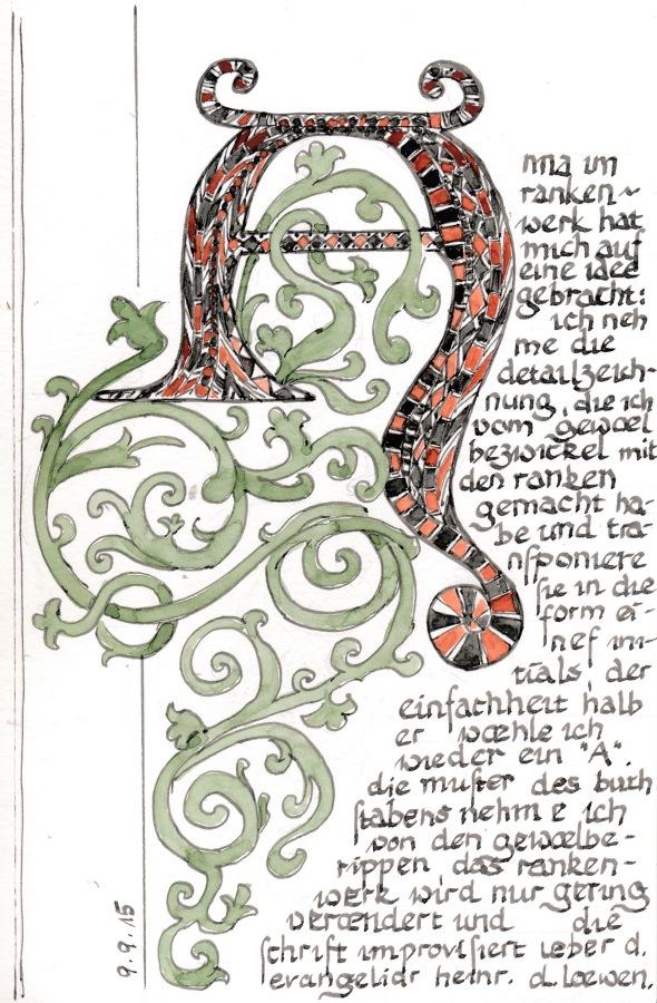 Initial A nach Motiven einer mittelalterlichen Gewölbemalerei in der Dorfkirche Bellin, Mecklenburg.