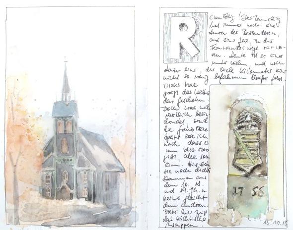 Aquarell der Kirche Neuhaus am Rennweg und Reisenotizen vom Rennsteig.