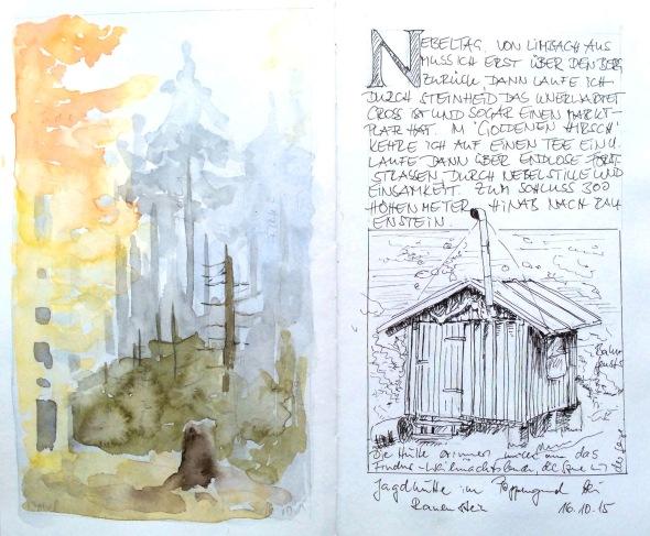Nebelwanderung vom Rennsteig nach Rauenstein. Seite aus meinem Reisetagebuch.