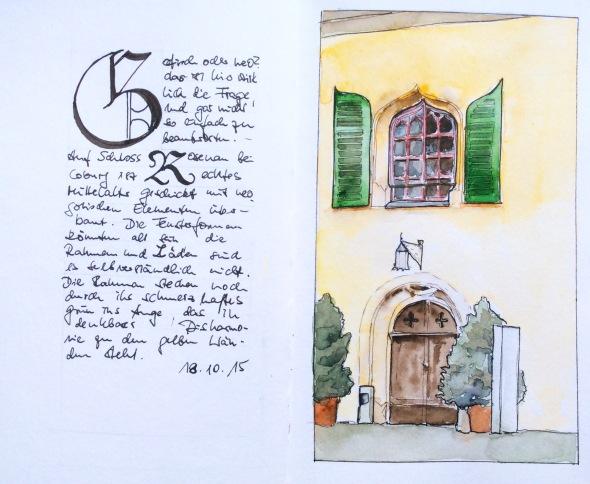 Eingang zum Schloss Rosenau bei Coburg, Marker, Tinte und Aquarell in einem S&B-Aquarellbuch