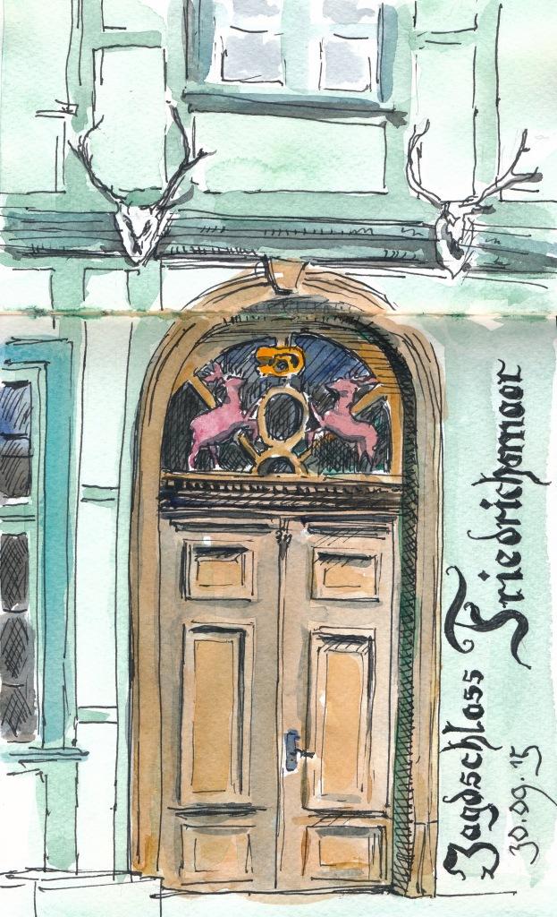 Portal des Jagdschlosses Friedrichsmoor bei Ludwigslust. Super5-Tinte mit Wasserfarbe.
