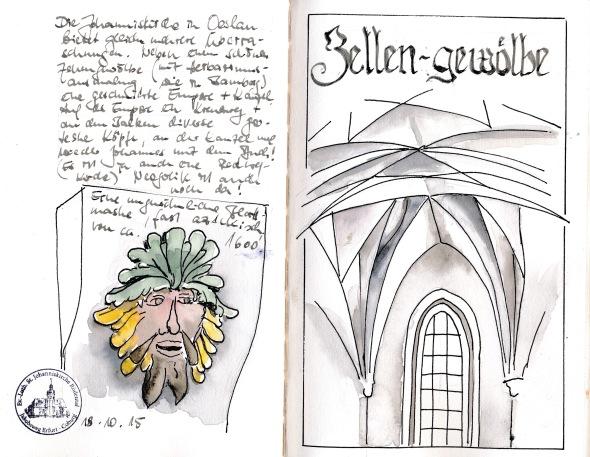 Eine Seite aus meinem Reisetagebuch mit Abbildungen aus der Kirche St. Johannis in Oeslau bei Coburg,