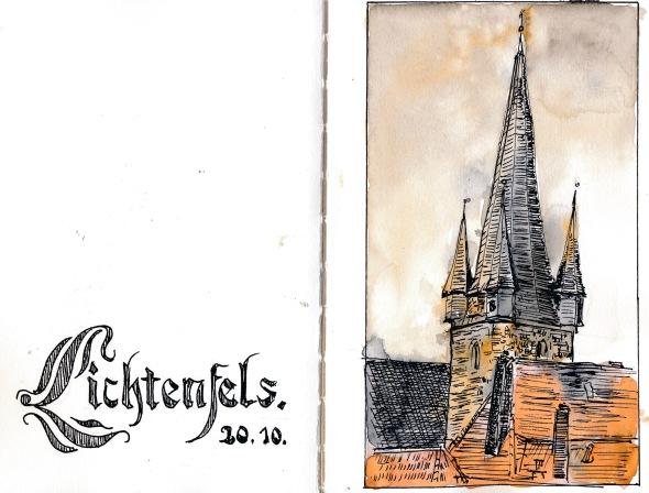 Kirche von Lichtenfeld in Oberfranken. Super5-Tinte und Wasserfarbe.