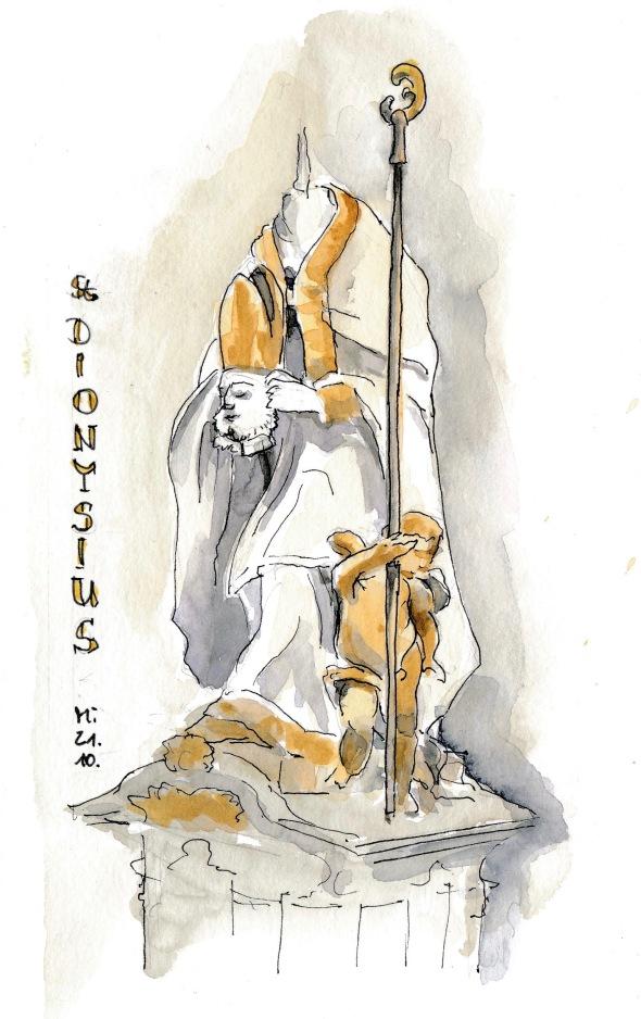 Statue des heiligen Dionysius in der Wallfahrtskirche Vierzehnheiligen.